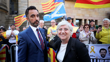 Catalonia pro-independence supporters outside Edinburgh Sheriff Court where former Catalan education minister Clara Ponsati appeared for her extradition hearing.