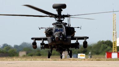 RAF Apache attack helicopter at Wattisham in Suffolk