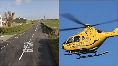 Crash: Road closed while investigations carried out. B7085 near Airyhassen in Dumfries and Galloway