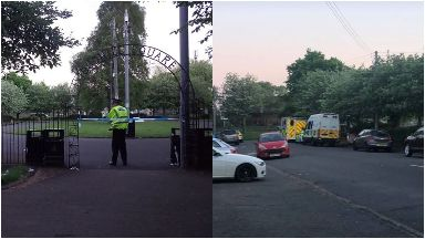 Shettleston: Tent erected after body found. Budhill Park Cramond Terrace