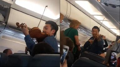 Professional violinist offers calming performance for delayed flight passengers