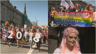Pride parade: Thousands gathered in Aberdeen.