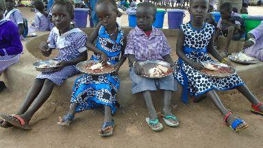 Children enjoy Mary's Meals at Mazzolari school South Sudan