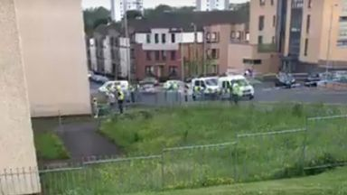 Maryhill: Guthrie Street cordoned off by police. Glasgow