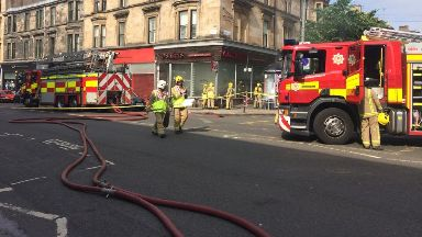 Fire: Smoke seen for miles. Old Salty's Glasgow Byres Road