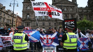 Protesters during a demonstration by the Scottish Defence League in George Square, Glasgow.