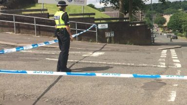 Greenock: Street has been cordoned off.  Wellington Street