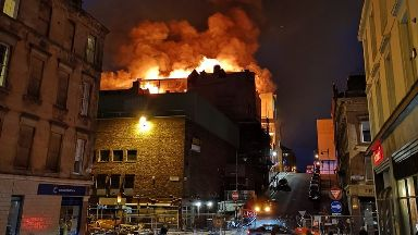 Fire: Smoke seen for miles. Glasgow School of Art Sauchiehall Street