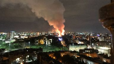Smoke: Streets have been closed off. Glasgow School of Art Fire