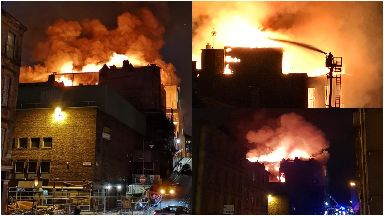 Blaze: Glasgow School of Art on fire.