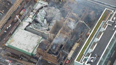 glasgow art school fire aerial shot