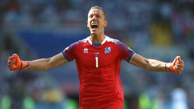 Star: Halldorsson was key for Iceland.