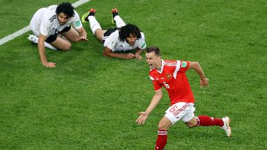 Russia winger Denis Cherysev celebrates his goal against Egypt.