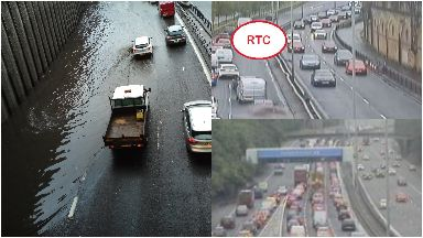 M8: Tailbacks being caused due to weather.