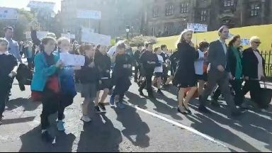 Clean Air Day march on the Mound, led by Adam McVey. June 21 2018