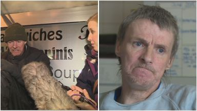 Before and after of rough sleeper Dode Reilly, firstly speaking to Kaye Nicholson then on his new life in a hostel.