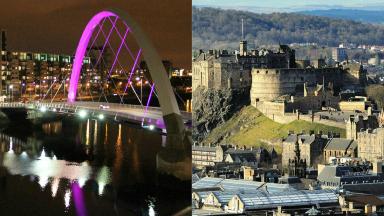 Glasgow night Edinburgh day collage.