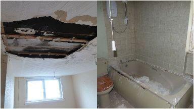 Inside: Hole in ceiling.