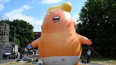 Serious message behind giant Trump baby blimp, say demonstrators