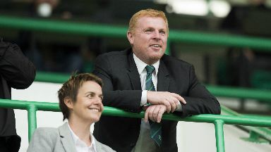 Neil Lennon speaks with Leann Dempster in the stands.