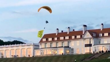 Paraglider/ paramotor flown in front of Trump Turnberry by Greenpeace.