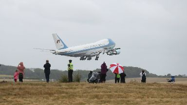 Air Force One leaves Scotland with Donald Trump on board at Glasgow Prestwick July 15 2018.