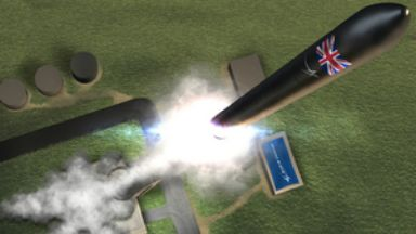 Artist's impression of rocket launching from Sutherland site at A'Mhoine