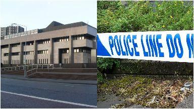 Glasgow: Police cordoned off the area. Glasgow Sheriff Court