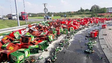 Much crying over spilled beer as lorry sheds load