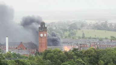 Old Stobhill Hospital fire July 2018