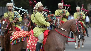 Spectacle: Oman's cavalry band are taking part this year.