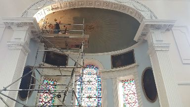 Restoration of historic artwork at St Patrick's RC Church in Edinburgh.