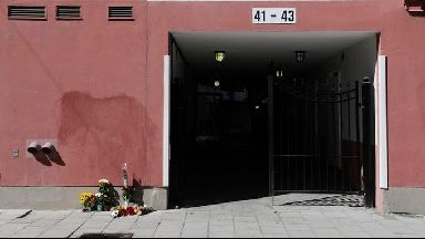 Flowers left at the scene where a 20-year-old man was shot and killed by police in Stockholm.