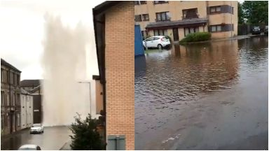 Chaos: Streets have been flooded due to the burst main.