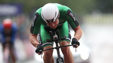 reland's Ryan Mullen crosses the finish line in the Men's Time Trial during day seven of the 2018 European Championships at the Glasgow Cycling Road Race Course