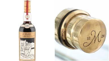 Bottle of Macallan Valerio Adami 1926 whisky going on auction at Bonhams in Edinburgh