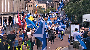 All Under One Banner pro-independence march in Dundee August 18 2018.