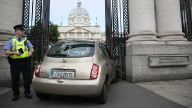 A car that crashed into the gates of Government Buildings in Merrion Street Upper, Dublin.