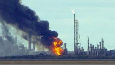 Fire at Stanlow Oil Refinery in Cheshire.