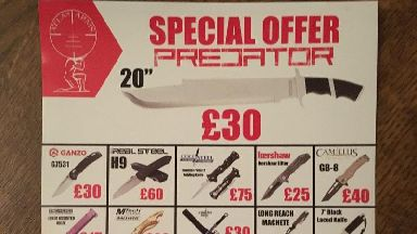 Local ad selling 'special offer' air guns and knives banned