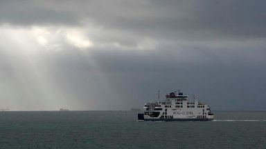The Wightlink car ferry St Clare crosses.