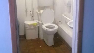 Toilet door: Stolen.