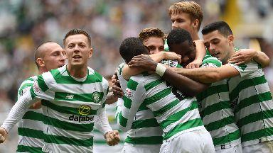 Celtic players celebrated Ntcham's goal.