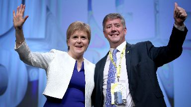 First Minister Nicola Sturgeon with the party's new deputy leader Keith Brown MSP on stage during the Scottish National Party's spring conference at the Aberdeen Exhibition and Conference Centre (AECC), Aberdeen.