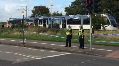 Tram: Area cordoned off by police. Saughton Edinburgh Death Tram