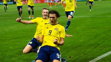 Fraser Hornby celebrates scoring the winner.