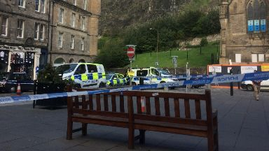 Cordon: Police taped off the Grassmarket.