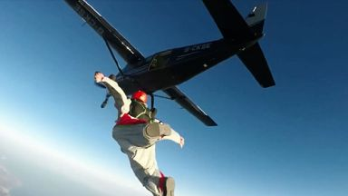 Liam Byrne jumps from plane