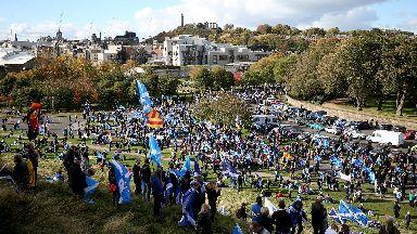 Pro Scottish independence All Under One Banner march Edinburgh October 2018.