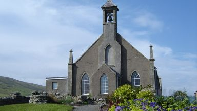 Shetland churches: Weisdale Kirk and community garden.